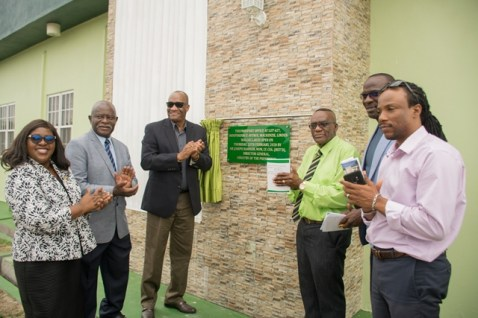 $38.1M Immigration and Passport Office commissioned in Region 10. [In photo from left] Minister of Foreign Affairs, Dr. the Hon. Karen Cummings, Minister of Citizenship, the Hon. Winston Felix, Director-General (DG) of the Ministry of the Presidency, Joseph Harmon, Regional Chairman, Renis Morian, Deputy Mayor Wainwright Bethune and former Member of Parliament (MP) Hon. Jermaine Figueira.