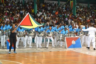 Guyana Police Force Steel Orchestra, winner of the Large Band Category in full swing.