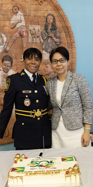 Deputy Chief of the Peel Regional Police Ingrid Berkley Brown (left) & Consul General of Guyana in Toronto Ms. Anyin Choo (right) during the Toronto Republic Day flag raising and interfaith ceremony.