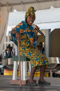 A student of the Plaisance Primary School performing a dramatic poem.