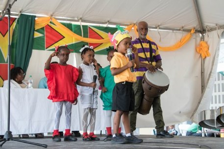 Students of the East Ville Nursery performing a calypso song.