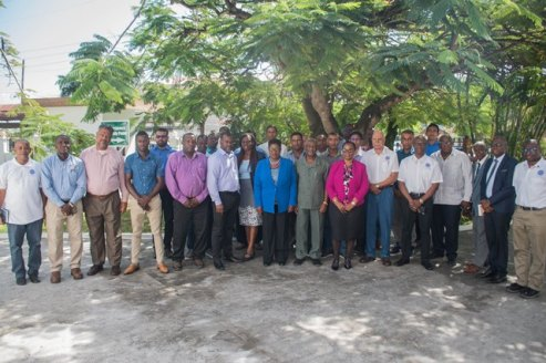 Members of the Ministry of Social Protection, Board of Industrial Training, Occupational Safety and Health Department and the Private Sector at the opening of the first Steam Boiler Training Programme at Herdmanston Lodge.