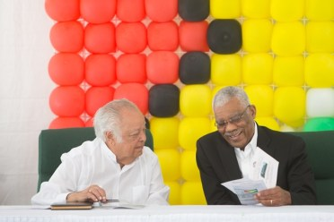 His Excellency David Granger and Sir Shridath Ramphal.
