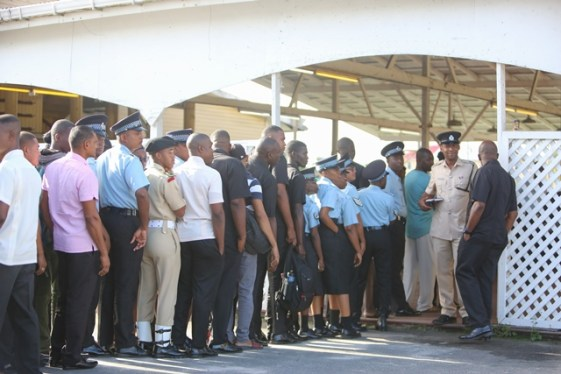 Ranks from the Guyana Police Force queuing to cast their ballots at Police Officers Club, Eve Leary.