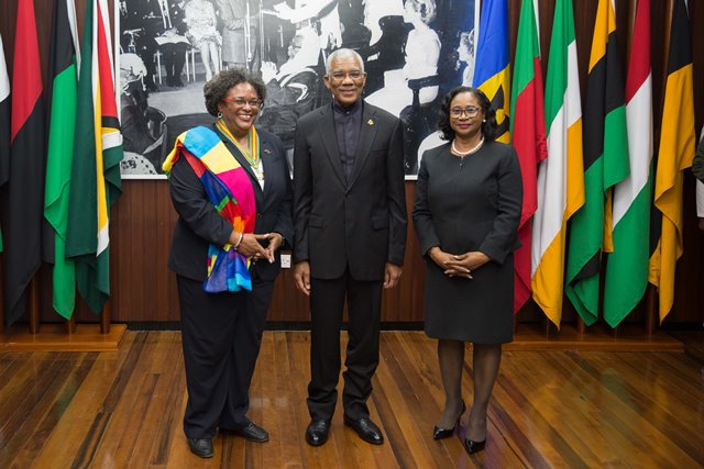 (from left) the Hon. Mia Amor Mottley Prime Minister of Barbados, His Excellency President David Granger and Chancellor of the Judiciary, Justice Yonette.
