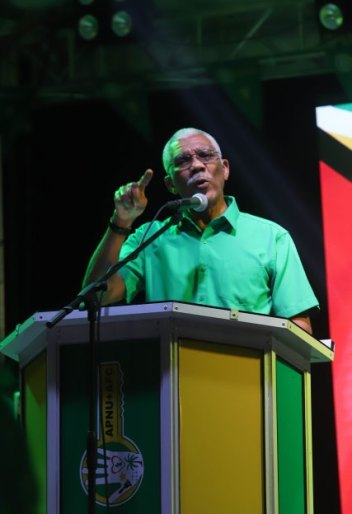 President David Granger addressing the Coalition Government campaign rally in Diamond, East Bank Demerara.