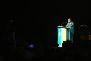 Minister of Indigenous Peoples' Affairs Hon. Sydney Allicock addressing the gathering at the rally in Lethem