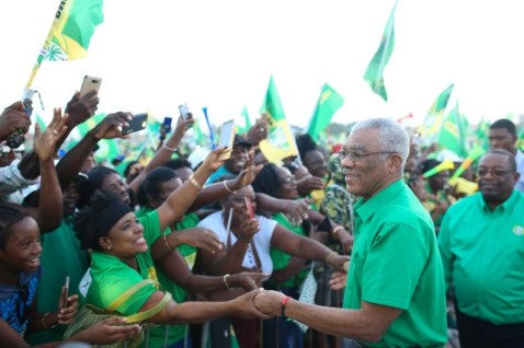 HE President David Granger is greeted by enthusiastic supports at the Coalition rally in at Bayroc, Wismar Linden.