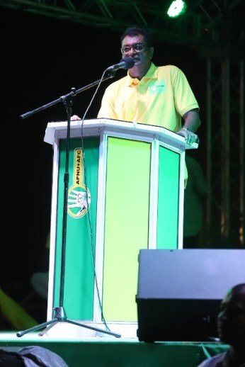 Public Security Minister Hon. Khemraj Ramjattan addressing the coalition rally at the Bayroc ground in Linden.