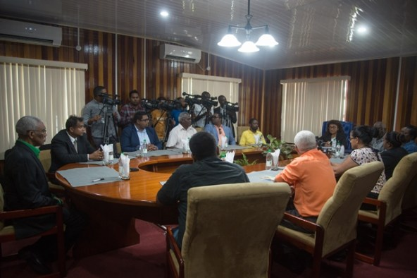 Heads of the political parties meet with Chairman of the Guyana Elections Commission Retired Justice Claudette Singh, to sign GECOM's Code of Conduct.