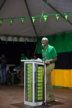 HE President Granger as he addressed the crowd at the Mahdia rally in Region 8.