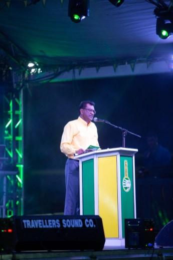 Minister of Public Security Khemraj Ramjattan addressing the crowd at D'Urban park