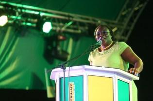 Guyana Teachers' Union General Secretary, Coretta McDonald delivering her remarks