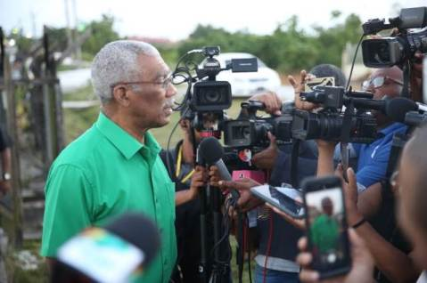 HE President David Granger speaks to the media.