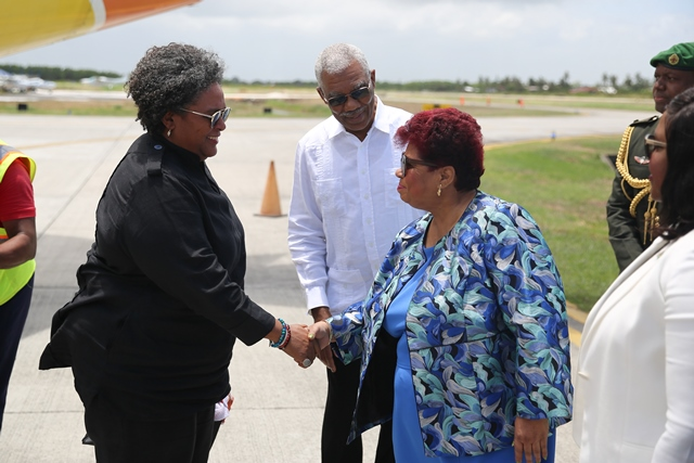 HE President David Granger introduces CARICOM Chairman and Barbados Prime Minister, Hon, Mia Mottley to Minister of Social Protection Hon. Amna ally on her arrival at Eugene F. Correia International Airport on March 11.