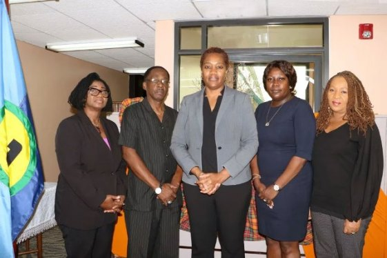 The Independent High-Level Mission (from left): Angela Taylor, Chief Electoral Officer, Barbados; Anthony Boatswain, former Finance Minister, Grenada; Francine Baron, Chair of the Team and former Attorney General and Foreign Minister, Dominica; Fern Nacis-Scope, Chief Elections Officer, Trinidad and Tobago; Cynthia Barrow-Giles, Senior Lecturer, Department of Government, UWI.
