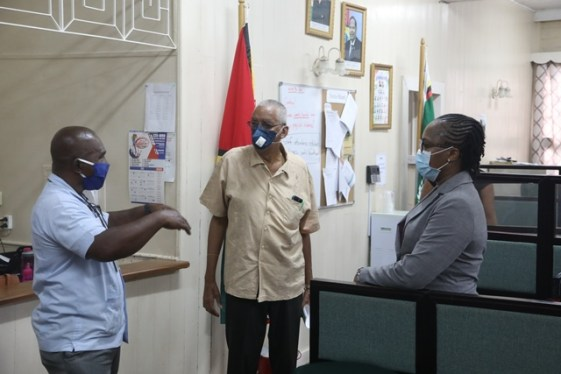 Newly appointed Director of Bertram Collins College Dr. Mark Kirton (centre), Permanent Secretary, Department of Public Service, Soyinka Grogan (right) and Executive Director of Bertram Collins College Randolp Leitch(left) during a tour of the inistution