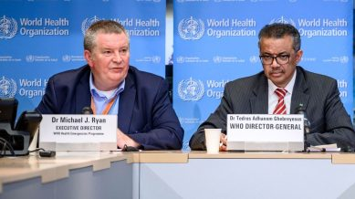 (from left) Dr. Michael Ryan, WHO's Executive Director of Health Emergencies Programme and Director-General of WHO, Dr. Tedros Adhanom Ghebreyesus