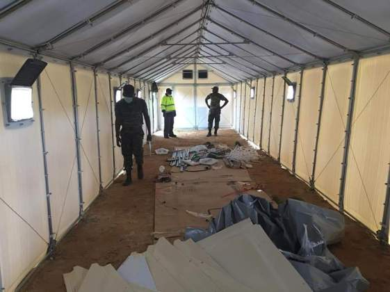 Remote Isolation tents being set up at Aranka in the Cuyuni River