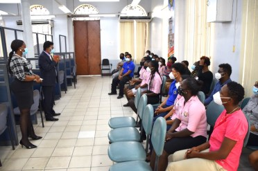 Attorney General and Minister of Legal Affairs, Hon. Mohabir Anil Nandlall addressing the staff of the Deeds and Commercial Registry Authority