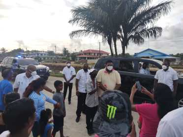 His Excellency, Dr, Mohamed Irfaan Ali, is greeted by jubilant residents on his arrival to the community of Canal Number 1, West Bank of Demerara.