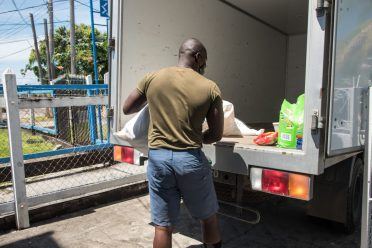 Some of the items being loaded unto a truck for transport.