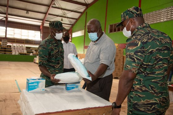 Prime Minister Phillips assessing some of the COVID-19 relief supplies