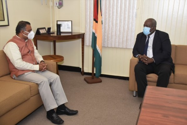 Prime Minister, Hon. (R'etd) Brigadier Mark Phillips and High Commissioner of India to Guyana, H.E. Dr. K. J. Srinivasa in discussion during a courtesy call at the Office of the Prime Minister, this morning