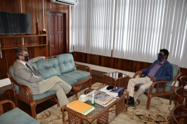 Attorney General and Minister of Legal Affairs, Hon. Mohabir Anil Nandlall, and the British High Commissioner, H.E. Greg Quinn, in discussion during a call to the Attorney General's Chambers by the High Commissioner