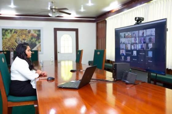 First Lady of the Cooperative Republic of Guyana, Her Excellency Arya Ali during the virtual meeting with the Dubai Vigilance Group (DVG).