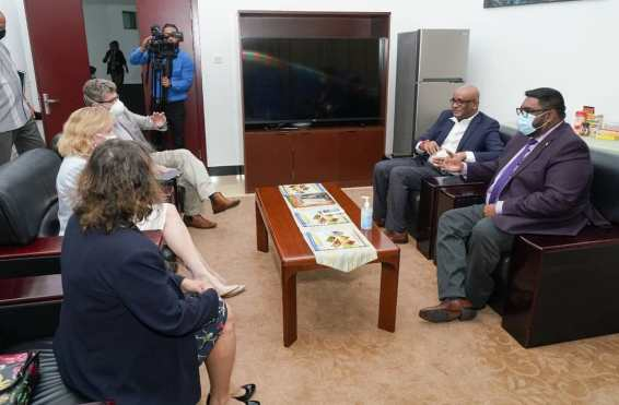 President Irfaan Ali AND Vice President Jagdeo meeting members of the Diplomatic Community