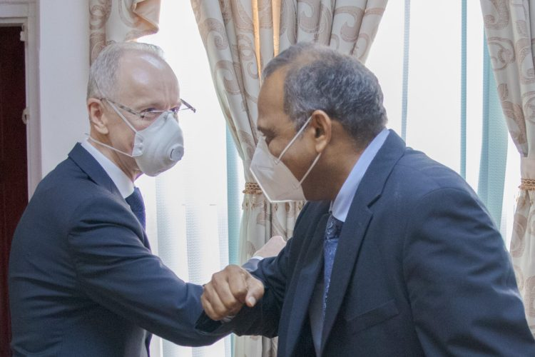 Minister of Health, Hon. Dr. Frank Anthony, greets His Excellency, Alexander Kurmaz, the Ambassador Extraordinary and Plenipotentiary of the Russian Federation to the Cooperative Republic of Guyana