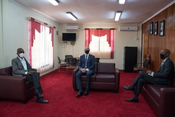 Minister of Labour, Hon. Joseph Hamilton and representatives of ExxonMobil at the Minister's office at Brickdam