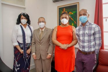 (From right) Coordinator for Regional Special Education Needs, Mr. Keon Cheong, Honourable Minister of Education, Priya Manickchand, Cuban Ambassador to Guyana, Narciso Socorro and his Personal Assistant Ms. Mayra Perez