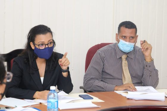 More scenes from the meeting between Minister of Housing and Water, Hon. Collin Croal, and Minister within the Ministry, Hon. Susan Rodrigues, and officials at GWI.