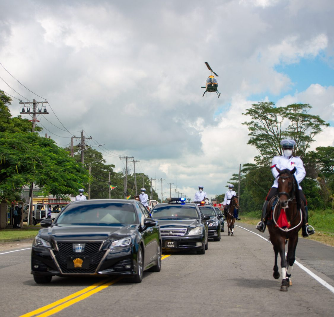 Presidential motorcade enroute to the Inauguration Ceremony of the 9th Executive President of Guyana of His Excellency Dr. Mohammad Irfaan Ali at the National Cultural Centre (NCC)