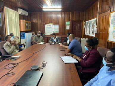 Minister of Natural Resources, Hon. Vickram Bharrat, meets with GGMC management staff