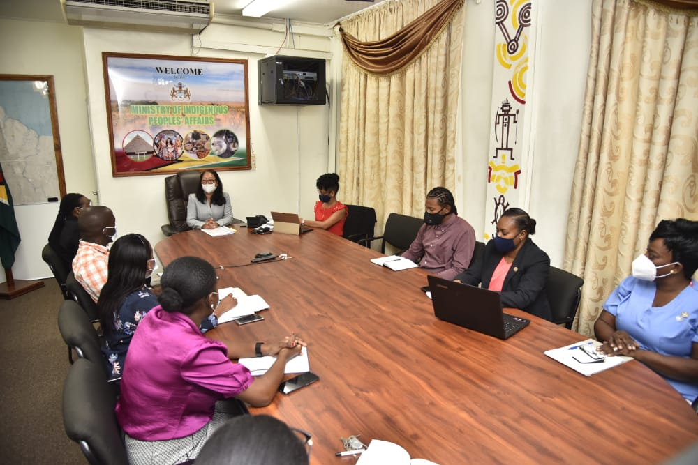 Minister of Amerindian Affairs, Hon. Pauline Sukhai, in talks with senior staff members of the Ministry.