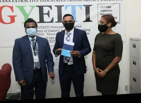 Coordinator of GYEITI, Rudy Jadoopat, Minister of Natural Resources, Hon. Vickram Bharrat, and Deputy Coordinator of GYEITI, Diane Barker.