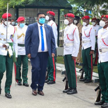 9th Executive President of Guyana of His Excellency Dr. Mohammad Irfaan Ali inspects the Guard of Honour