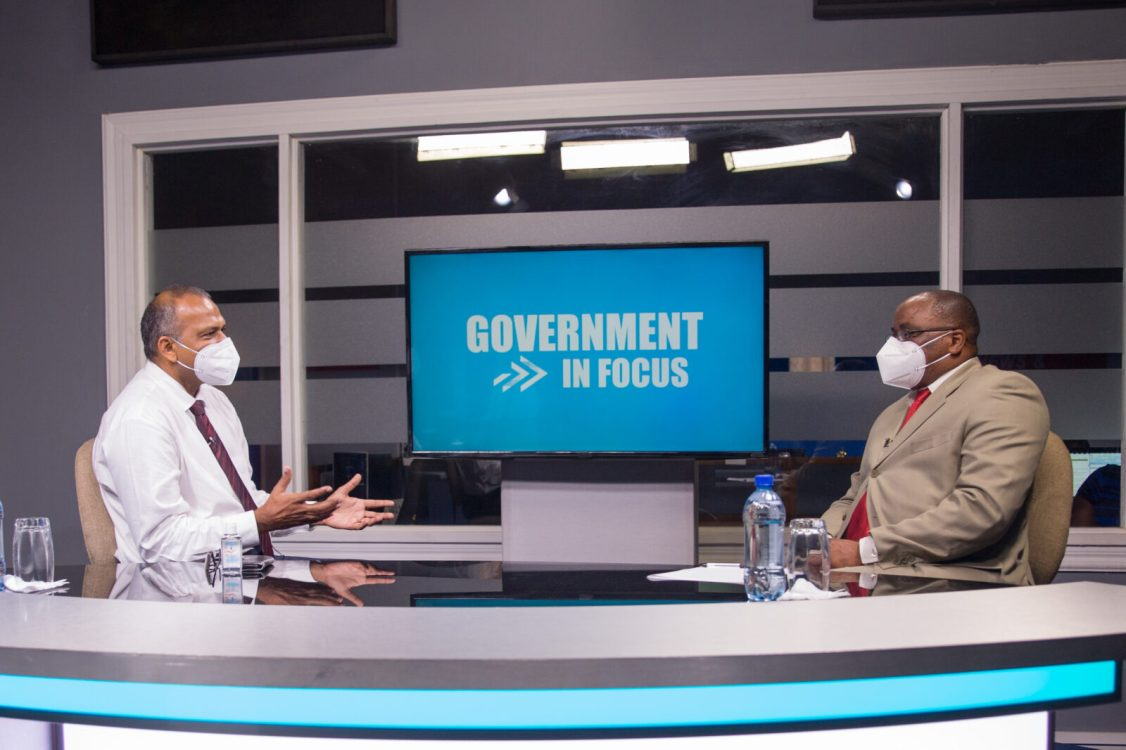 Minister of Health, Dr. Frank Anthony with Host, Michael Gordon on programme 'Government in Focus'
