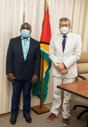 Minister of Public Affairs, within the Office of the Prime Minister, Hon. Kwame McCoy and European Union (EU) Ambassador to Guyana, His Excellency Fernando Ponz Cantó