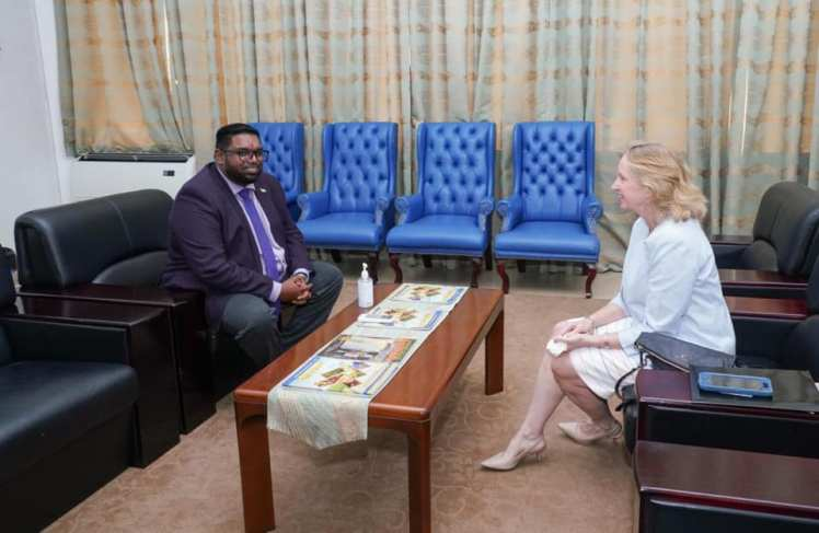 United States Ambassador to Guyana, Sarah-Ann Lynch pays a courtesy call on President of the Cooperative Republic of Guyana, His Excellency, Mohamed Irfaan Ali