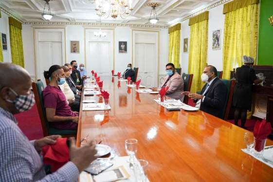 President of the Cooperative Republic of Guyana, His Excellency, Mohamed Irfaan Ali, in talks with leaders and representatives of the smaller parties on nation's response to COVID