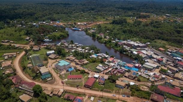 Aerial shot of Port Kaituma