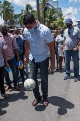 Minister Ramson puts his football skills on display