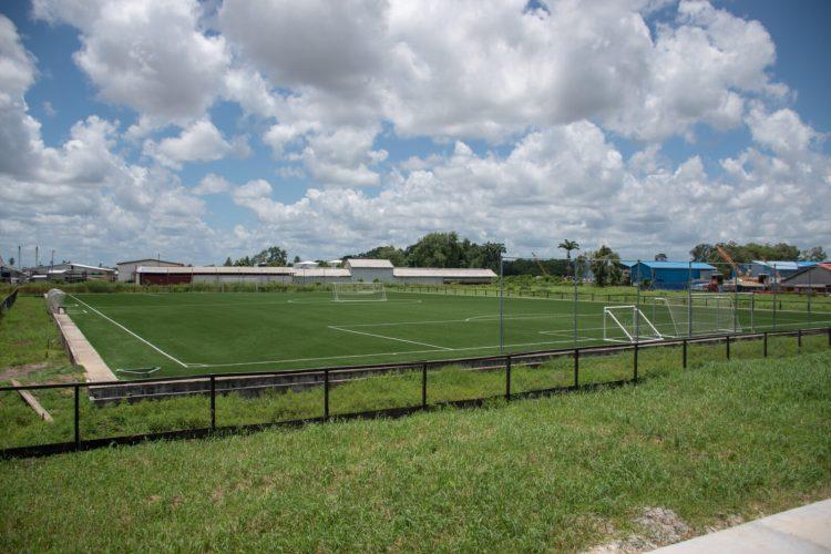 The football stadium under construction at the Providence, East Bank Demerara