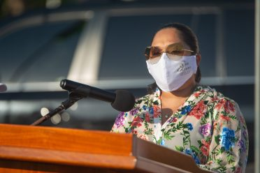 First Lady, Her Excellency Mrs. Arya Ali delivers her address at the unveiling of the One Guyana Map in Kingston
