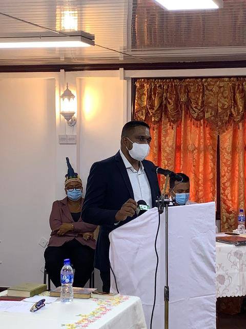 Minister of Local Government and Regional Development, Hon. Nigel Dharamlall delivers his charge at the swearing -in ceremony of the Region Two Regional Democratic Council