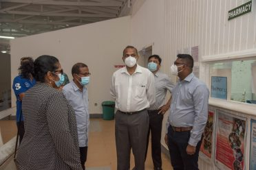 Minister of Health, Dr. Frank Anthony with members of the Region Two RDC during his tour of the Oscar Joseph Hospital at Charity on Saturday